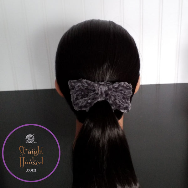Megan Velvet Bow Hairtie Charcoal