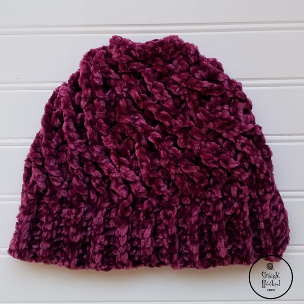 Velvet Twist messy bun hat