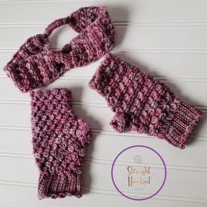 Ice Cap Fingerless Gloves and Ice Cap Headband Crochet Pattern Bundle