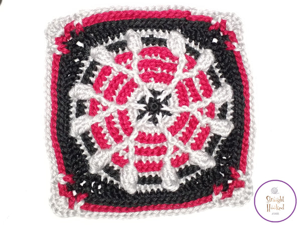 Candy Cane Snowflake Square crochet pattern
