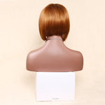 Short Light Brown Bob Straight Synthetic Cosplay Wig With Bangs 8 Inch