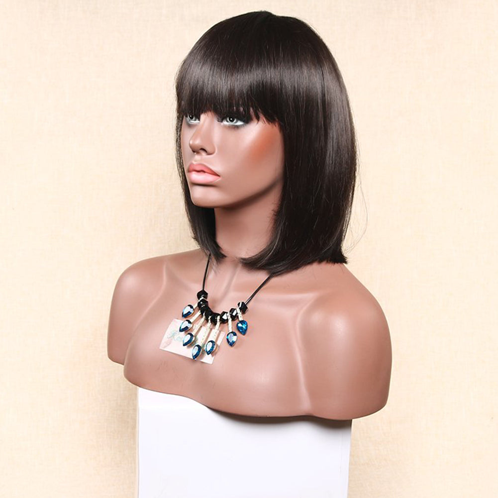 Short Straight Bob Synthetic Wig With Flat Bangs - Black, Brown 12inch