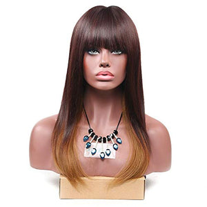 HUA MIAN LI Long Straight Wig With Flat Bangs Heat Resistant Synthetic Natural Looking Hair Replacement Wig for Party, Dating 22Inch with Free Wig Grip Band