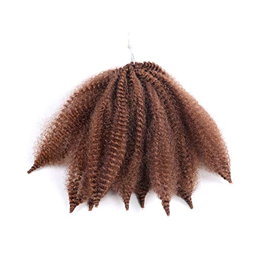 HUA MIAN LI Marley Braid Hair 3 Bundle/42 Root Short Mali Bob Crochet Hair Afro Kinky Curly Heat Resistant Synthetic Braiding Hair for Women 8 inch