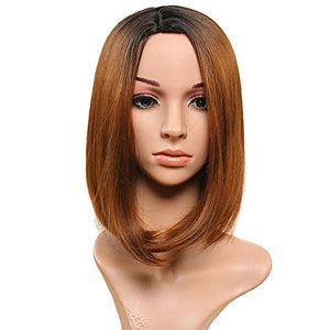 HUA MIAN LI Short Straight Ombre Wigs for Women Black Root Heat Resistant Synthetic Wig Hair Replacement Cosplay Wig for Party, Daily Use 12 inch Middle Part Brown Wig With Free Wig Grip Band