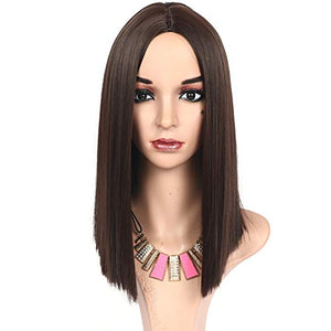 HUA MIAN LI Short Straight Wig With Heat Resistant Synthetic Fiber - Cosplay Hair Replacement Wigs for Party, Prom Cosplay Middle Part Wigs for Women With Rose Net 12Inch
