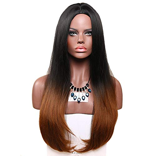 HUA MIAN LI Long Ombre Straight Wig Black Root Heat Resistant Wigs For Women Middle Part Synthetic Wig 26 inch Red Wig for Cosplay Party With Free Wig Grip