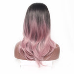 Ombre Middle Length Straight Synthetic Wig With Middle Part - Pink/ Sliver Grey 16 Inch