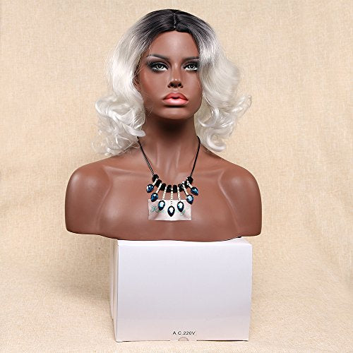 HUA MIAN LI Short Curly Wavy Wig for Women Middle Part Heat Resistant Synthetic Wig Ombre Silver Cosplay Hair Replacement Wig for Party 14inch