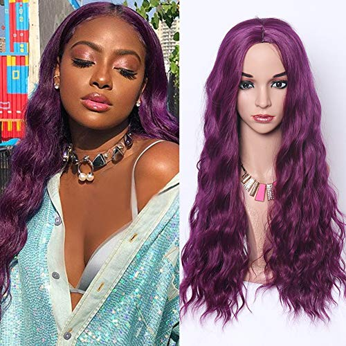 HUA MIAN LI Long Wavy Wig for Women Hair Replacement Heat Resistant Synthetic Fiber Cosplay Middle Part Wig for Party Daily Use