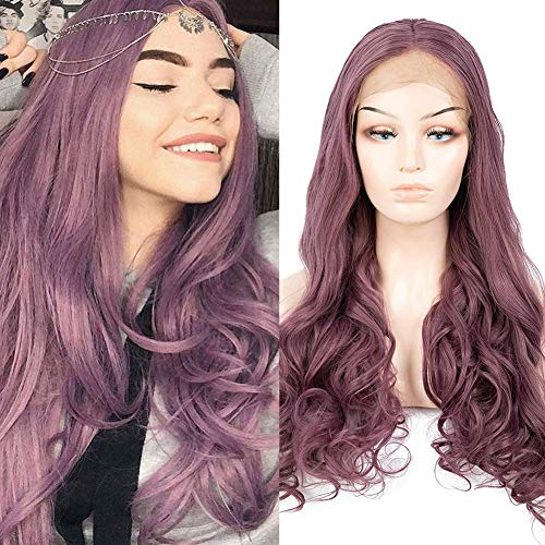 HUA MIAN LI Purple Lace Front Long Wavy Wig for Women Middle Part Wig Heat Resistant Synthetic Wig