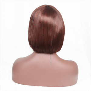 Brown Short Bob Straight Synthetic Hair Replacement Wig With Bangs