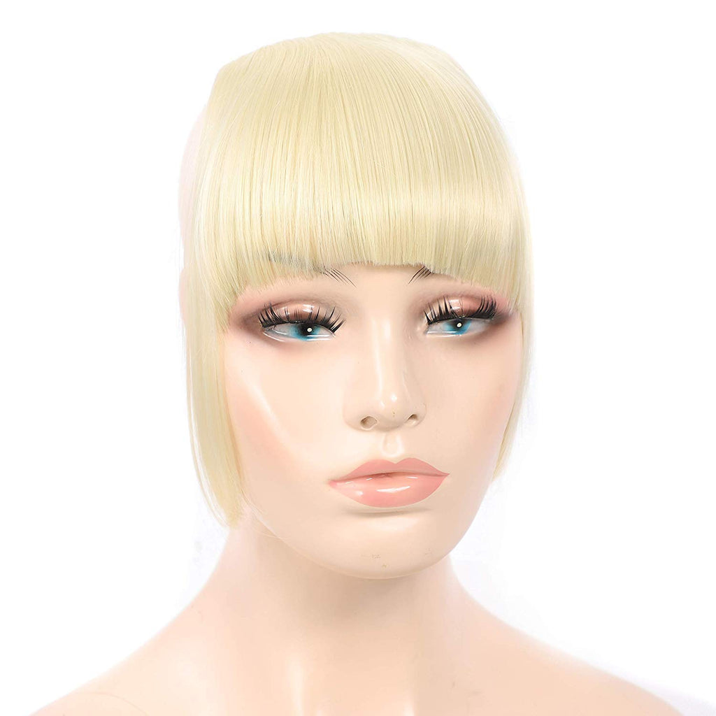 HUA MIAN LI Bob Flat Hair Bangs Heat Resistant Synthetic Hair Clip-in Bangs Straight Bangs With Fringe One Piece Clip Aoert (Light Brown)