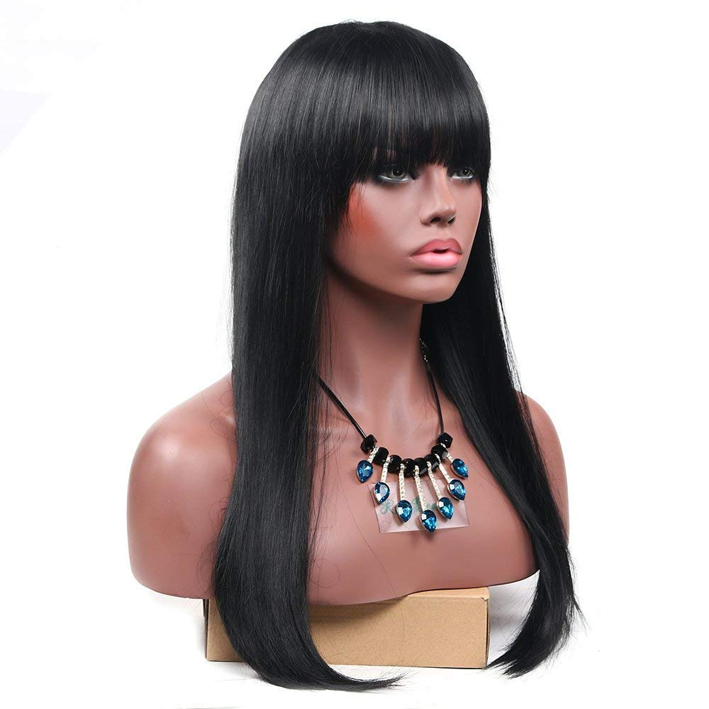 Aoert Long Straight Wig with Bangs Black Synthetic Wigs for Women Hair Replacement Cosplay Full Wig With Free Wig Cap 22""