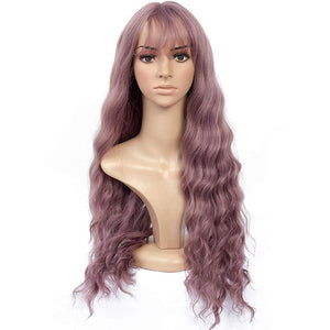 Aoert Long Wavy Wig With Air Bangs - Full Heat Resistant Synthetic Fiber