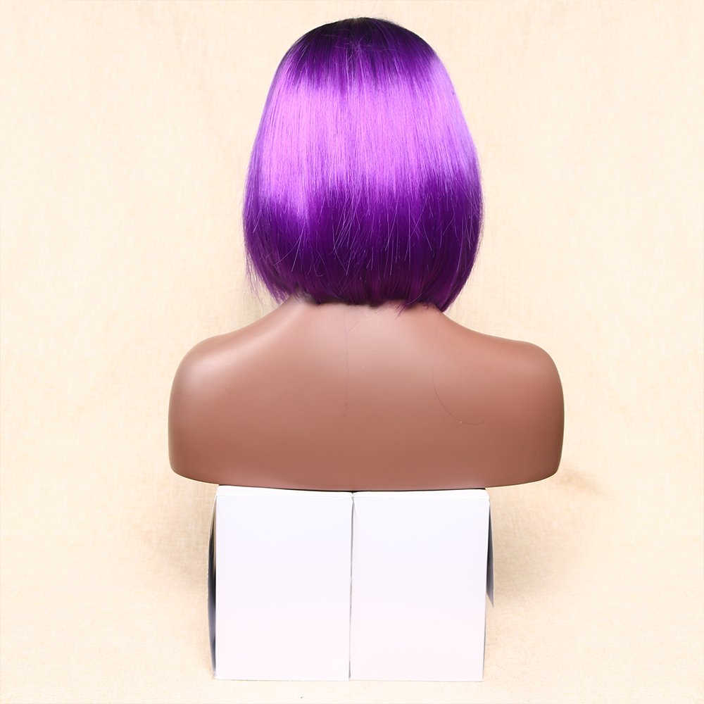Ombre Short Straight Middle Part Heat Resistant Synthetic Wig for Women Cosplay Hair Replacement Wig 10 inch Black Root
