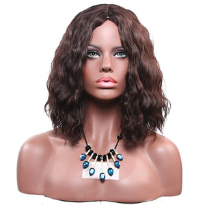 Short Wavy Hair Replacement Wigs for Women Heat Resistant Synthetic Corn Wave Wig 10inch