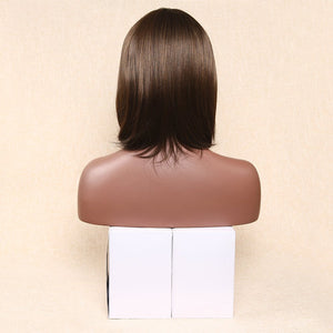 Middle Length Straight Wig Side Part Hair Replacement Wigs for Women Heat Resistant Synthetic With Side Part Bangs 14inch