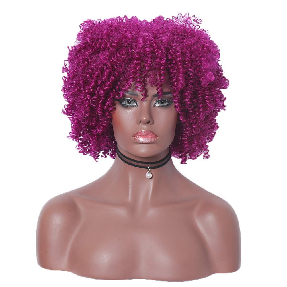 Purple Short Kinky Curly Heat Resistant Synthetic Full Cosplay Wig for Women 12 inch