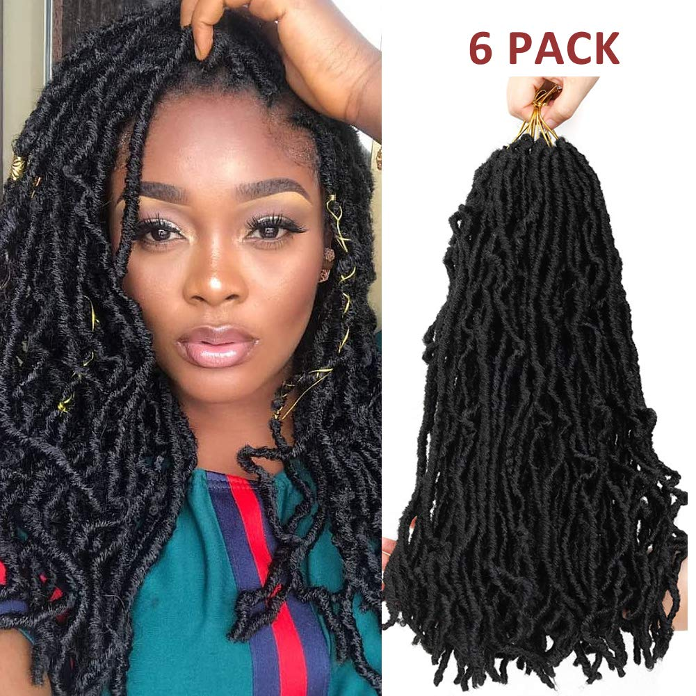HUA MIAN LI 6 Packs Red New Locs Crochet Synthetic Hair Extension Goddess Faux Locs Hair