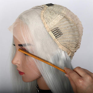 Short Straight Lace Front Silver White Wig With Middle Part