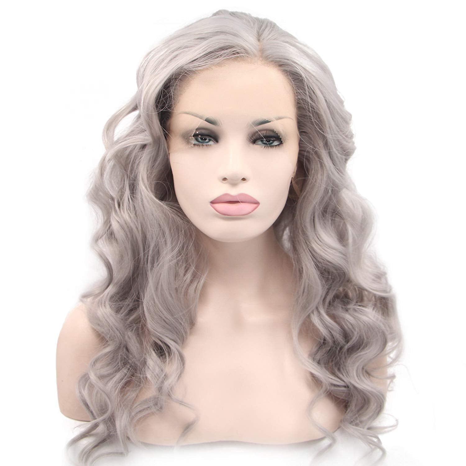 Lace Front 24 Inch Long Body Wave Heat Resistant Synthetic Silver Grey Cosplay Wig for Women Side Part