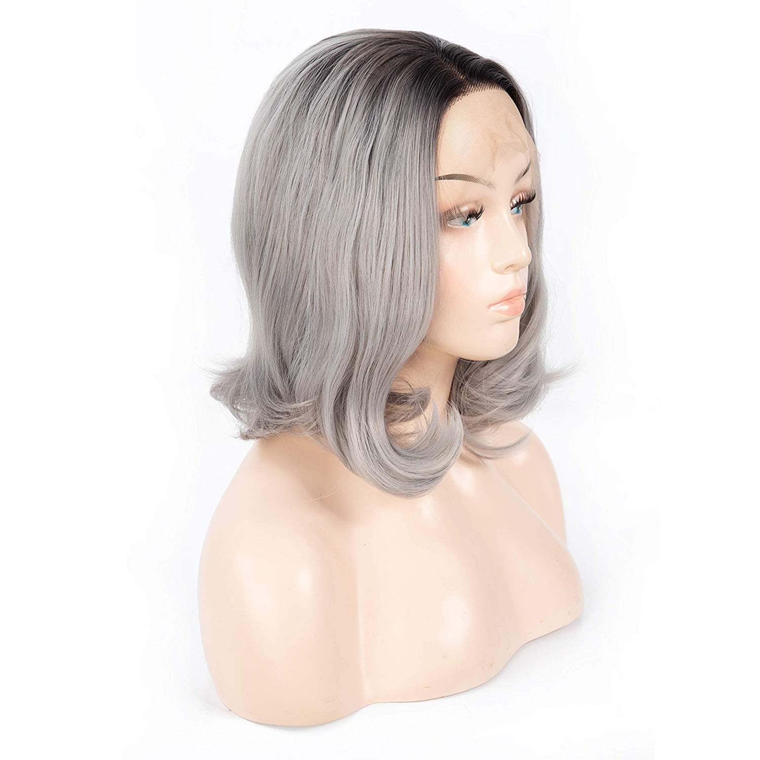 12 Inch Short Ombre Silver Grey Curly Synthetic Wig With Side Part Machine Made