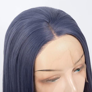 Short Straight Lace Front Blue Middle Part Hair Replacement Wig for Women