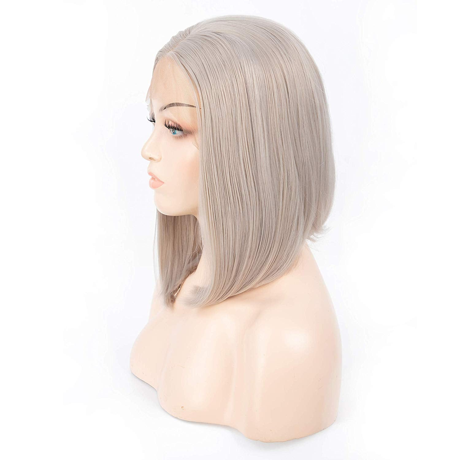 12 Inch Short Straight Silver Synthetic Wig for Women Middle Part Cosplay Glueless Wig