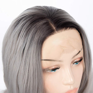 Aoert Ombre Short Wavy Lace Front Glueless Wig for Women - Heat Resistant Synthetic Fiber - 2 Tone Color Silver Grey With Dark Root - Cosplay Middle Part Wig 14 inch