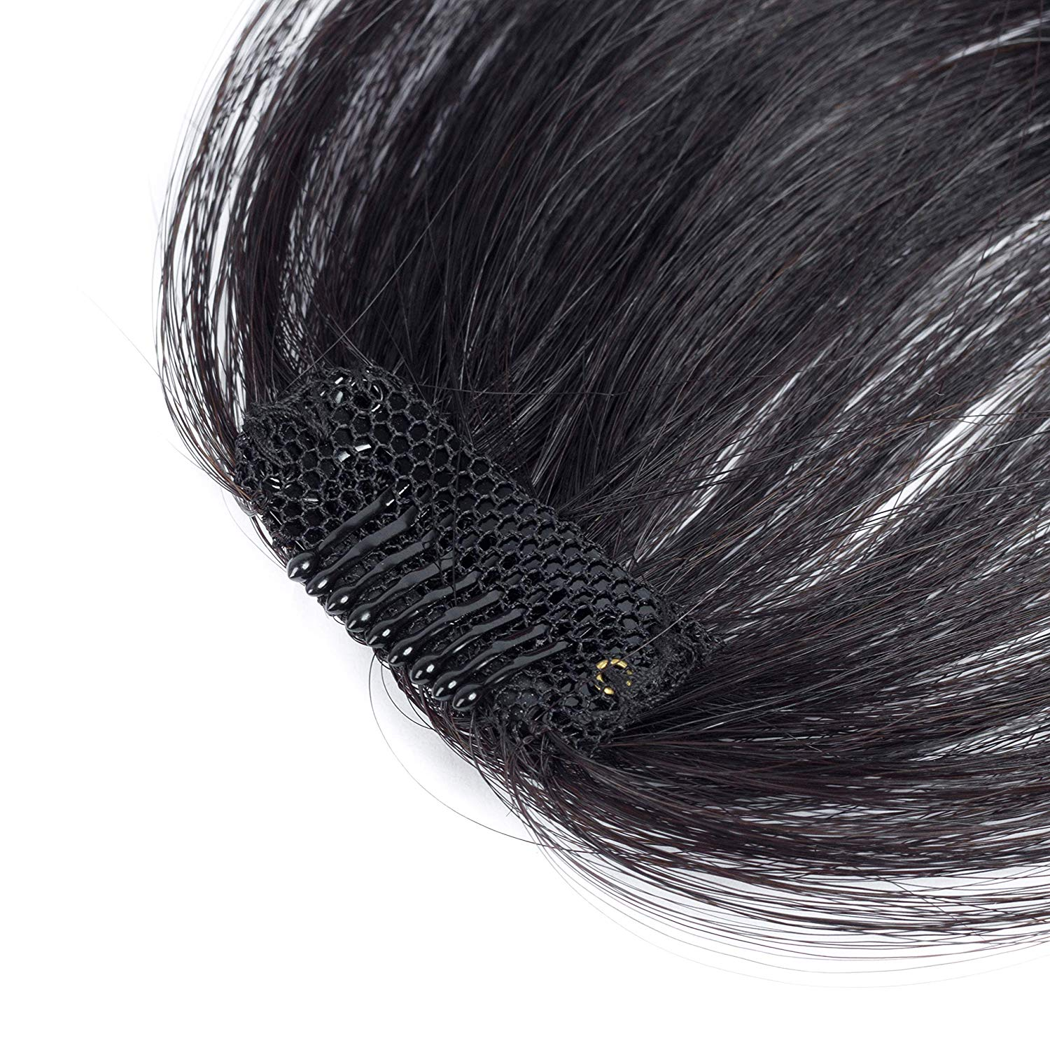 Human Hair Bangs Hairpiece for Women- Air Bangs Hand Tied Front Fringe Clip in Hair Extensions
