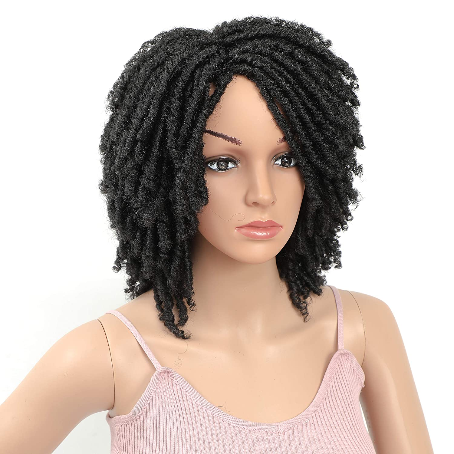 HUA MIAN LI Short Dreadlock Wig 6inch Soft Twist Crochet Braids Afro Short Curly Synthetic Wig with Curly Ends Faux Locs Braids Hair Wig for Women