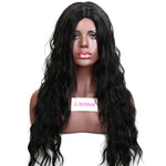 26 Inch Long Black Natural Wavy Synthetic Wig With Middle Part Machine Made