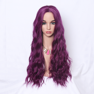 Long Wavy Purple Wig With Middle Part Machine Made 26 Inch Machine Made