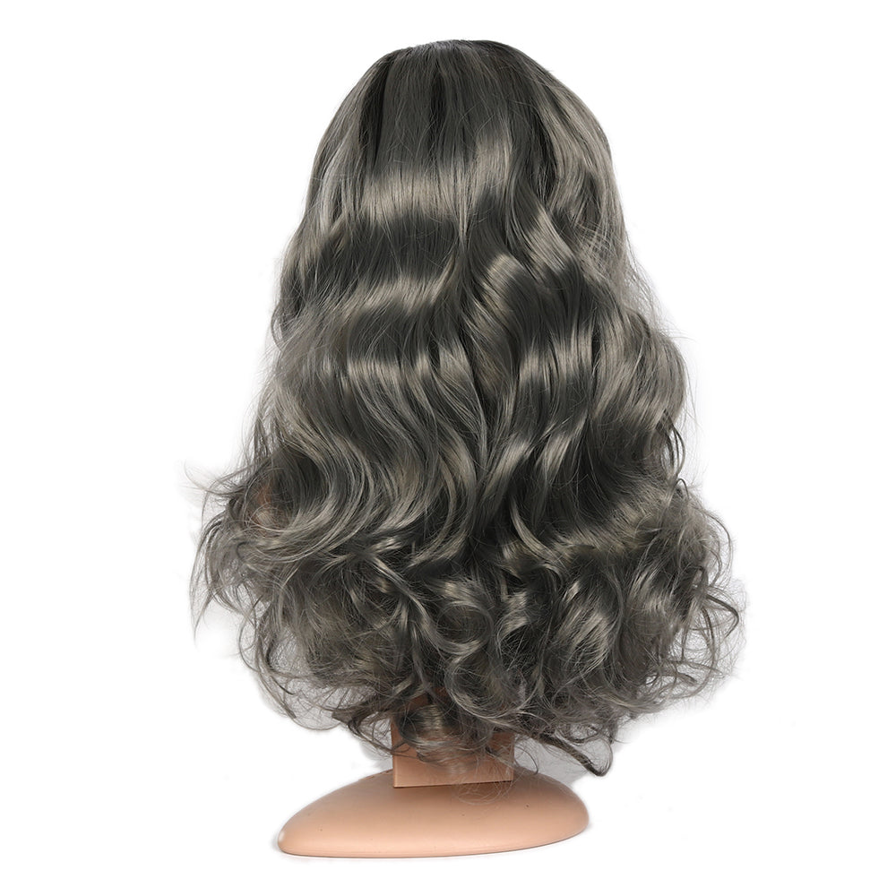 Lace Front Ombre Grey Wavy Wig With Black Root Middle Part Heat Resistant Synthetic Wig 26inch