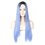 HUA MIAN LI Ombre Long Straight Wig for Women Heat Resistant Synthetic Wig Cosplay Hair Replacement Wigs for Party, Prom - Natural Looking Machine Made Full Middle Part Wig 28inch