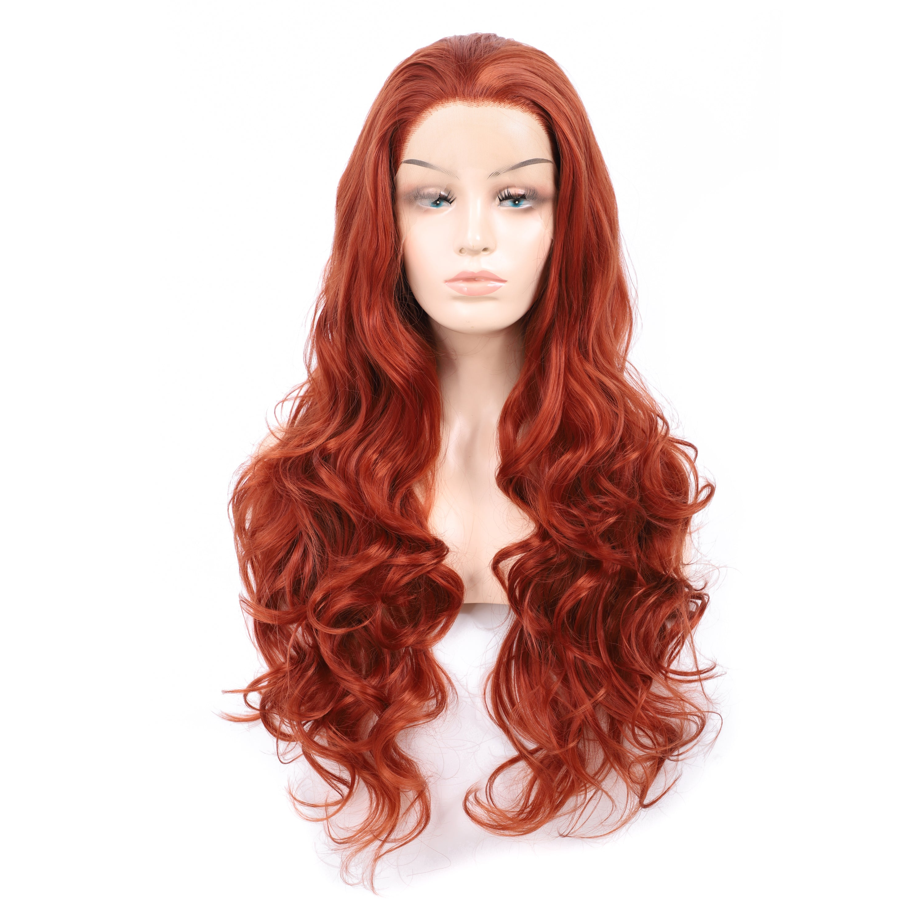26 Inch Lace Front Long Wavy Heat Resistant Synthetic Copper Red Cosplay Middle Part Wig for Women