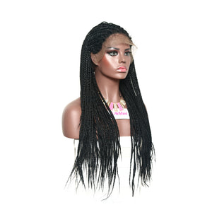 28inch Braided Lace Front Wig With Baby Hair Hand Made Braiding Hair Replacement Glueless Wig