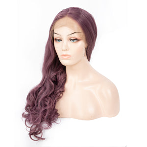 26 Inch Long Wavy Lace Front Synthetic Wig Purple Cosplay Body Wave Wig With Middle Part