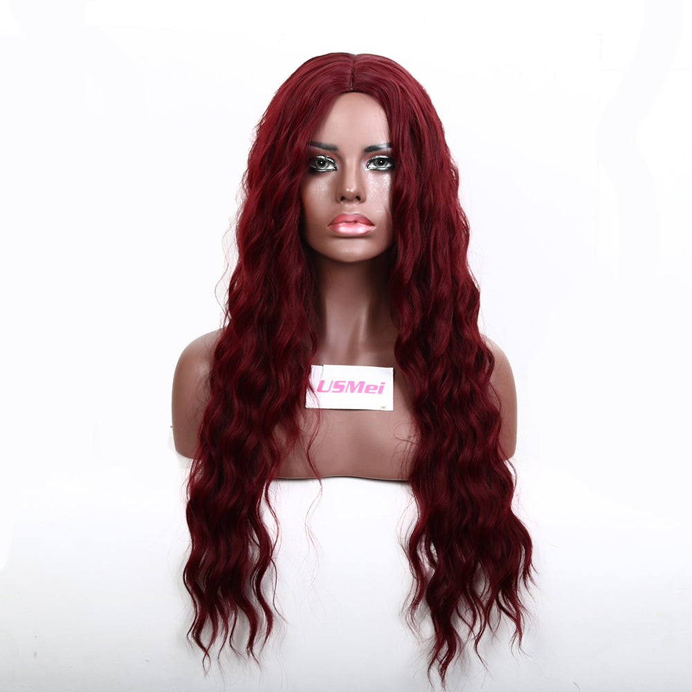 26 Inch Long Red Natural Wavy Synthetic Cosplay Wig With Middle Part Machine Made