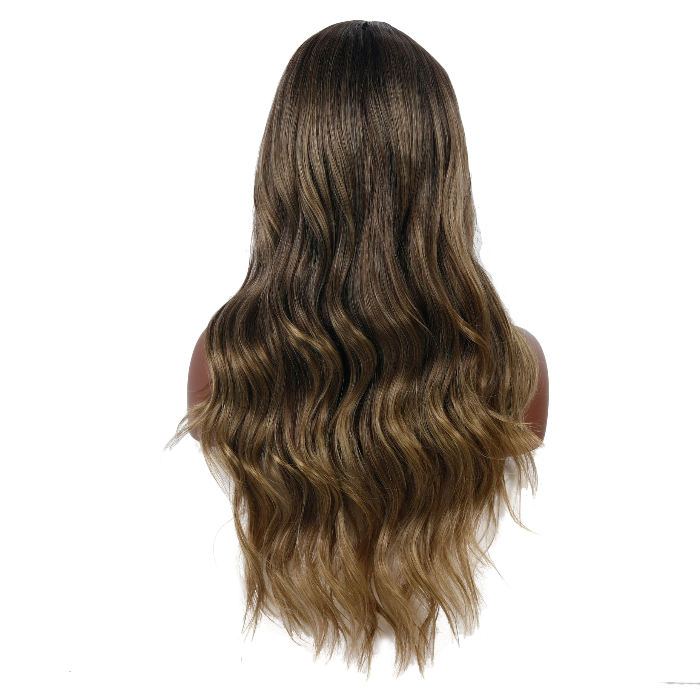 Long Wavy Middle Part Wig for Women - 26 Inch Synthetic Brown Cosplay Body Wave Wig