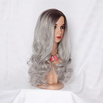 Long Body Wave 26 inch Ombre Silver Grey Wavy Synthetic Wig for Women