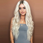 Ombre Long Wavy Synthetic Wig With Middle Part Machine Made Body Wave Hair Replacement 26inch
