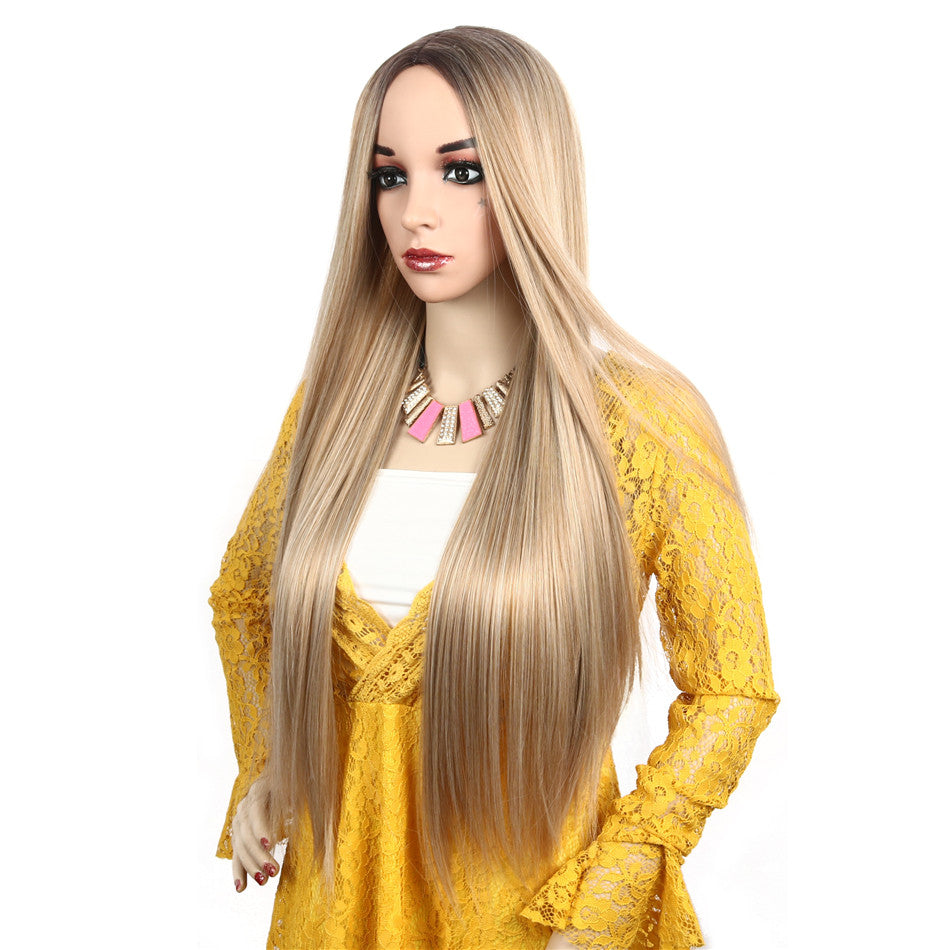 Ombre Long Synthetic Straight Blonde Wig With Middle Part Heat Resistant Synthetic Wig for Women