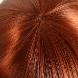 Copper Red Short Straight Wig With Curly End Synthetic Wig for Women