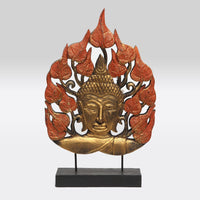 Buddha Head on Leaf Tabletop Stand