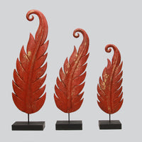 Wooden Leaf on Stand- Set of Three
