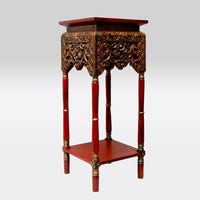 Bedside Table with Gold Accents- Red