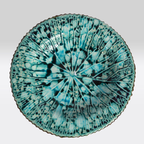 Teal Marbled Ceramic Plate