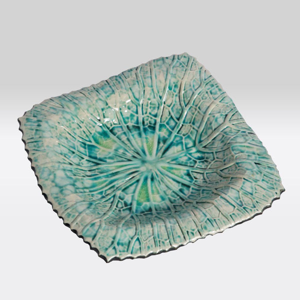 Teal Marbled Square Plate